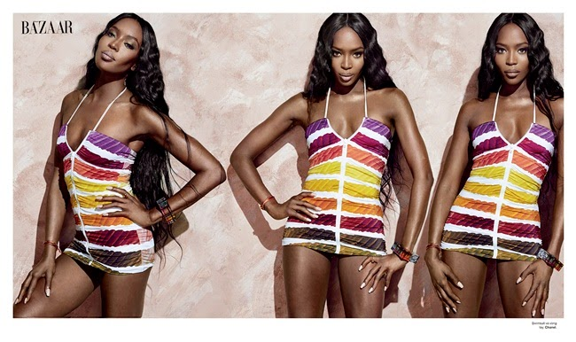 Chanel SS 2014 Editorial:Pantone Striped Zip Front Two-Piece Swimsuit