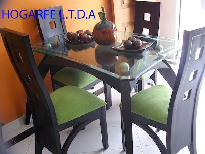 Muebles malcel comedores de 4 y 6 puestos en madera for Comedor 8 puestos bogota