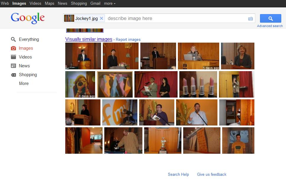 Google Images experiment, results page
