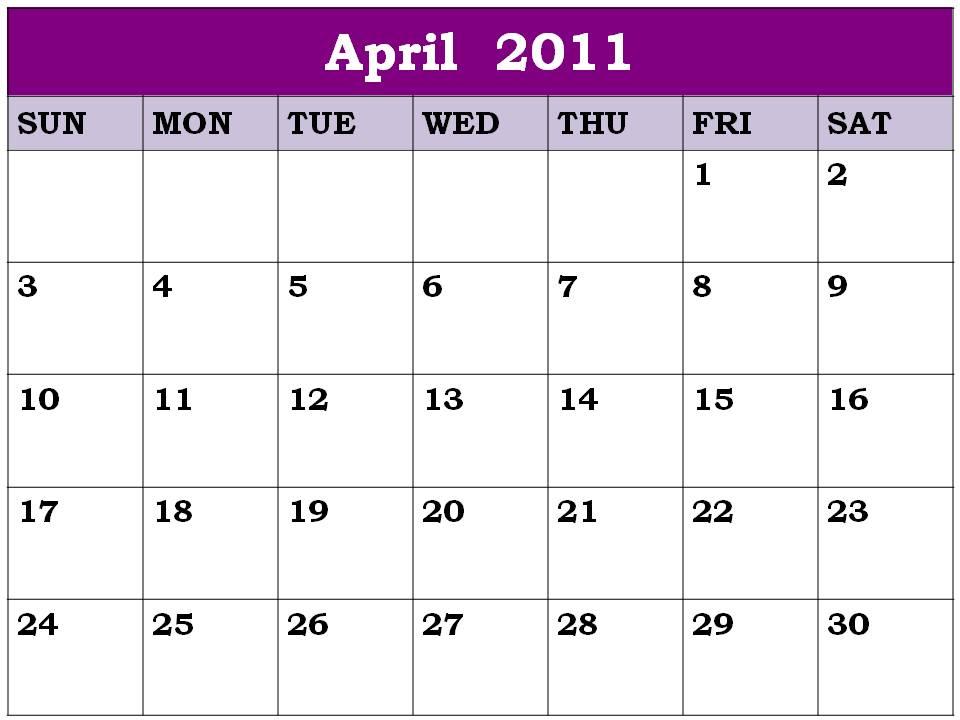 calendar 2011 april. tattoo 2011 calendar april.