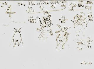 Storyboard scene 4: third goat crosses troll bridge.