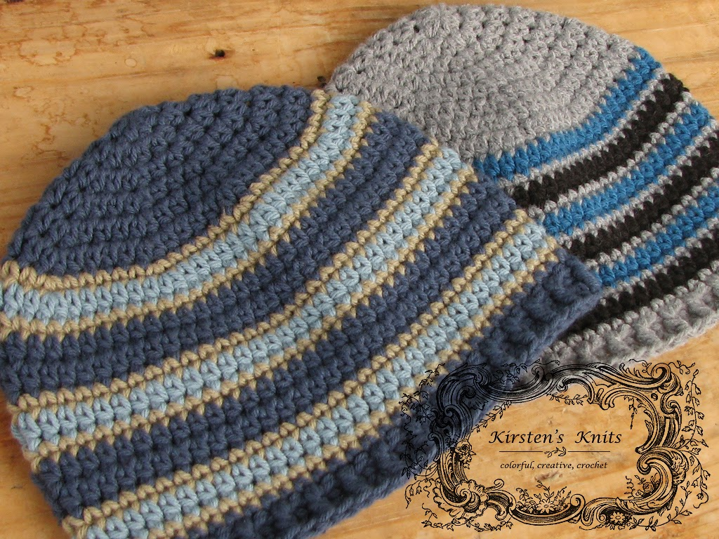Kirstens Knits: Seeing Stripes, Mens Beanies for Charity