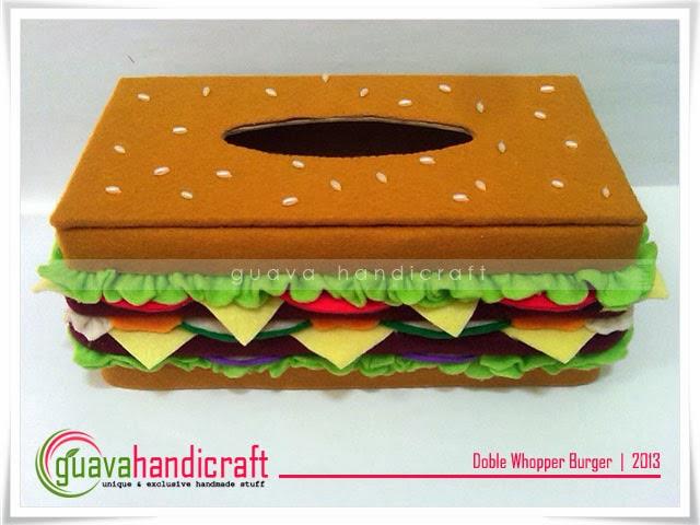 ... Handicraft   Flanel Unik dan Eksklusif: Kotak Tisu Flanel - Burger 01