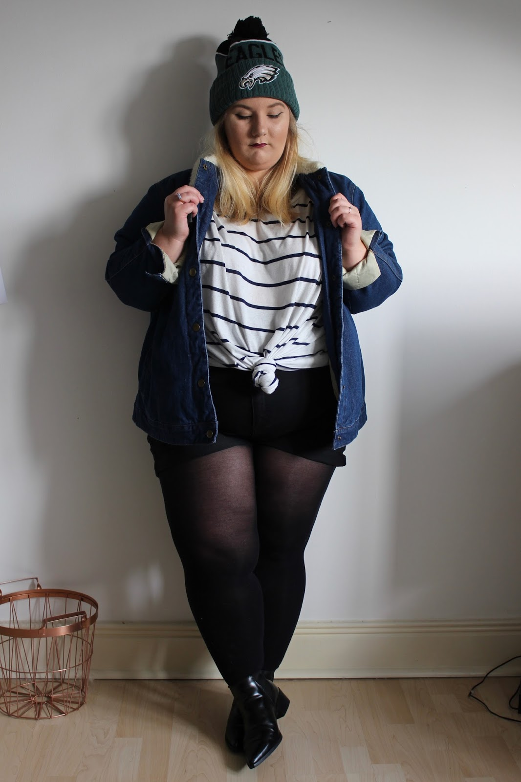 ASOS Curve Denim Jacket with Borg Collar