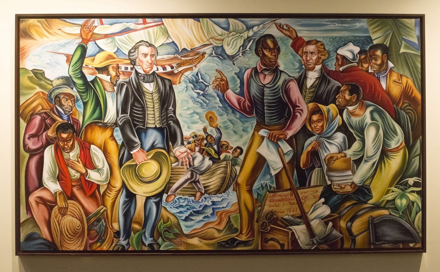 Artists paintings of amistad mutiny tell of african for African american mural