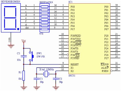 Menghubungkan seven segmen common katoda ke mikrokontroler