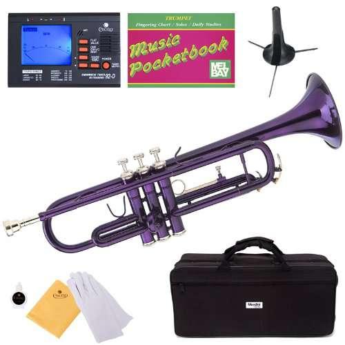 Mendini MTT-PL Lacquer Brass Bb Trumpet, Purple