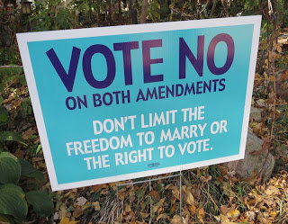 Light blue Vote No on Both Amendments sign