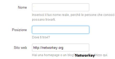 Posizione Sito Web Twitter