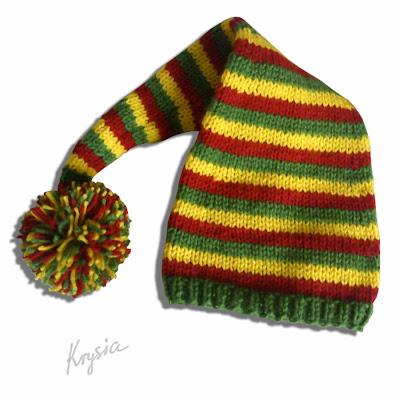 czapka rastafariańska na drutach