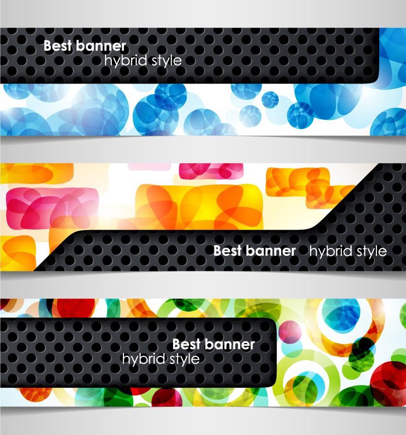 カラフルに光る背景にテクスチャを重ねたバナー light glow theme banner イラスト素材