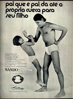 propaganda cuecas Nando e Nandinho -1971. moda anos 70; propaganda anos 70; história da década de 70; reclames anos 70; brazil in the 70s; Oswaldo Hernandez