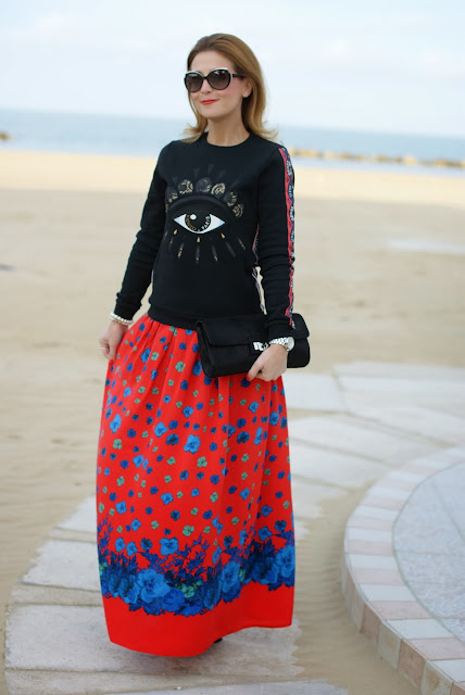 Kenzo eye sweater, Asos maxi flower skirt, felpa occhio Kenzo, Fashion and Cookies, fashion blogger