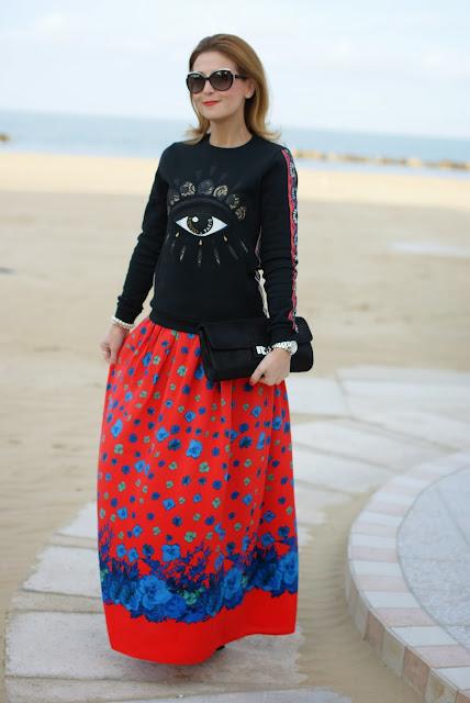Kenzo eye sweater, Asos maxi flower skirt, felpa occhio Kenzo, Fashion and Cookies, fashion blogger