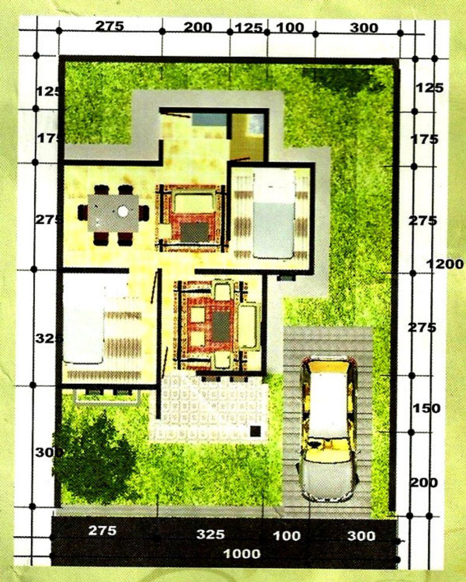 contoh denah rumah tipe 45 tanah 12x10 populer