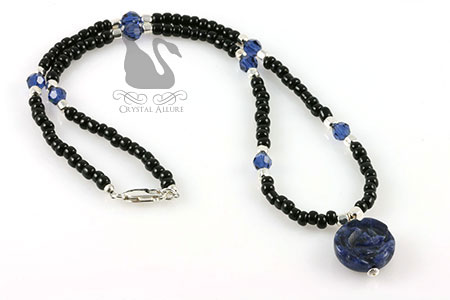 Sapphire Crystal Sodalite Rose Gemstone Necklace (N075)