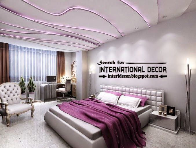 plaster ceiling designs for bedroom ceiling, multi-level plaster ceiling led lights
