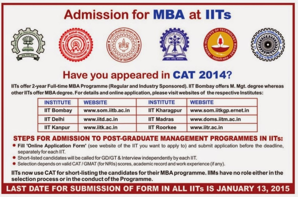 IIT MBA Admissions Notification 2015-17