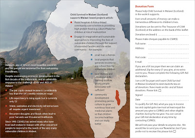 Child Survival in Malawi Scotland leaflet spread 2013