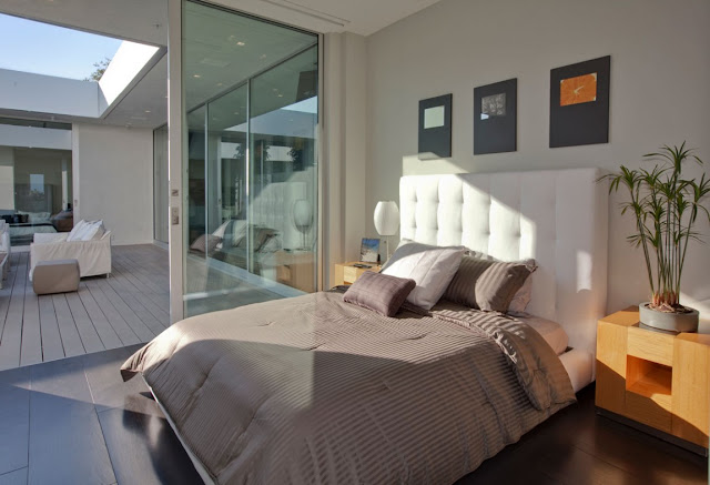 Modern bed in the bedroom