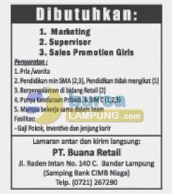 Lowongan Kerja PT Buana Retail, Jobs Marketing Lampung, Gaji di PT Buana Retail, Cabang PT Buana Retail, Lowongan Kerja Liwa, Kotabumi, kalianda, pringsewu, kota agung, bandar jaya, Metro