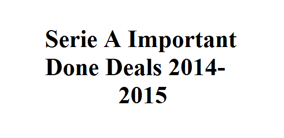 Serie A: Important Done Deals 2014-2015