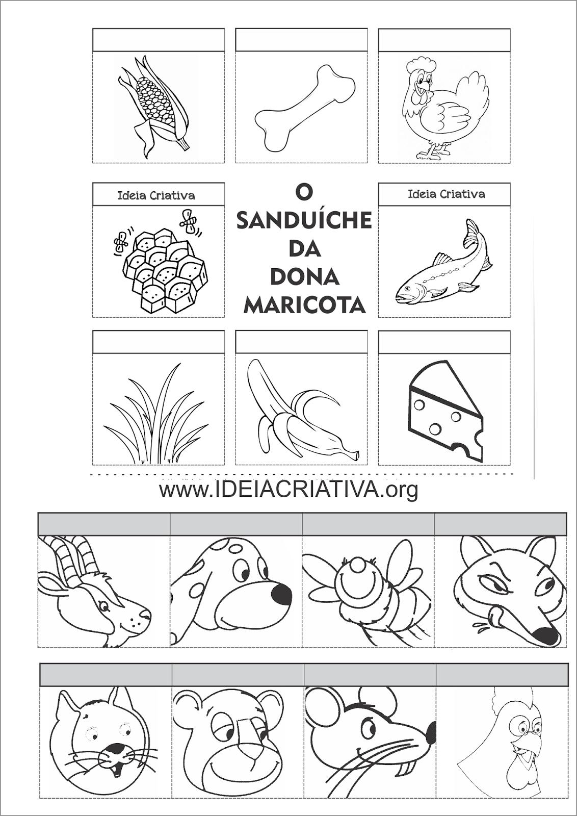 Atividade O Sanduíche da Dona Maricota Recortem e colagem