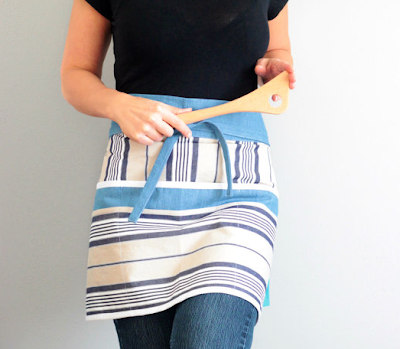 bistro apron, unisex, striped, blue and white