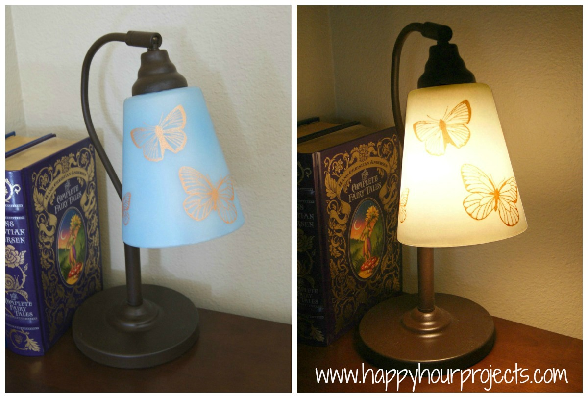 thrift lamp re vamp with martha stewart glass paints happy hour