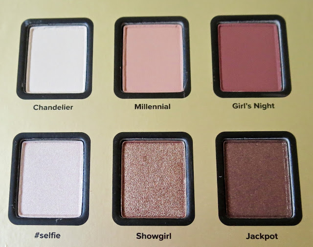 a picture of Blossom in Blush - Too Faced Star Dust Vegas Nay palette ; Jackpot, Showgirl, #selfie, Girl's Night, Millennial, Chandelier
