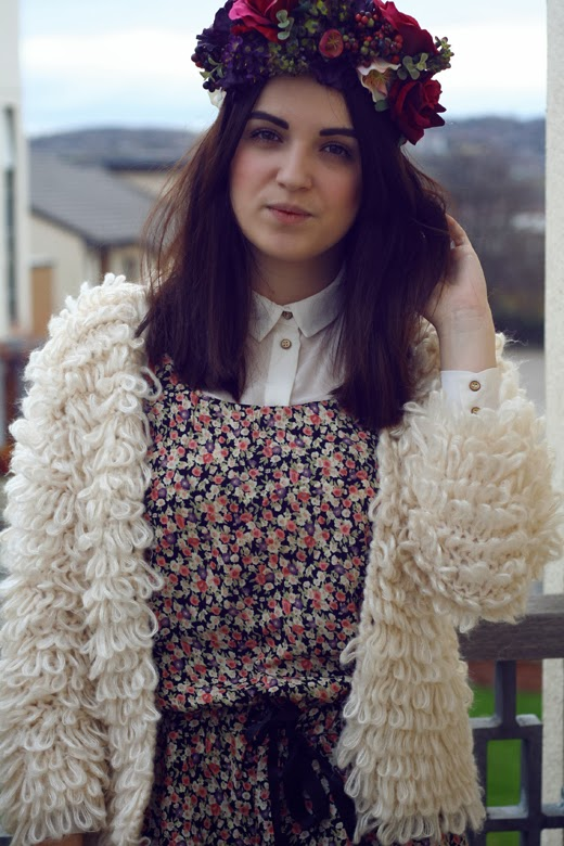 floral crown, flower headwear, rose crown, flower crown, berry, rose, fluffy cardigan, shaggy cardigan, hippy, hippie, uk fashion, uk style, ootd, floral playsuit, flower playsuit, preppy,