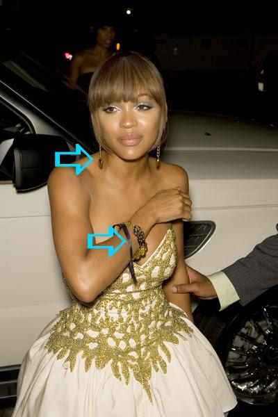Meagan Good wearing Jenny Dayco earrings and bracelet