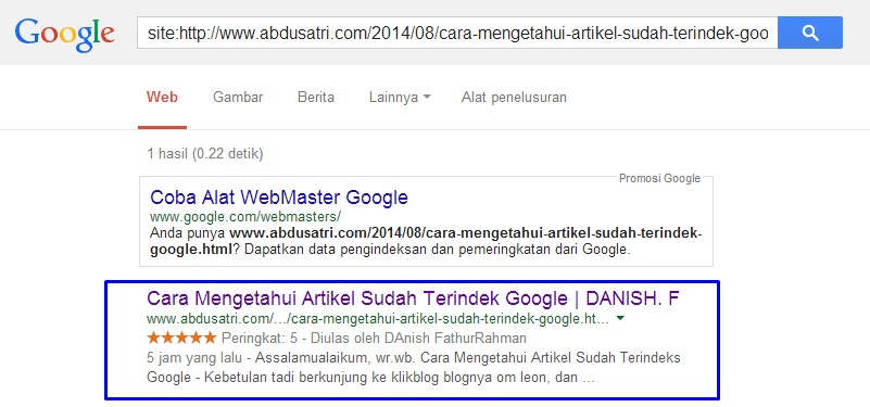 caar melihat posting sudah terindeks google search