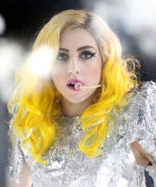 lady gaga yellow ombre hair