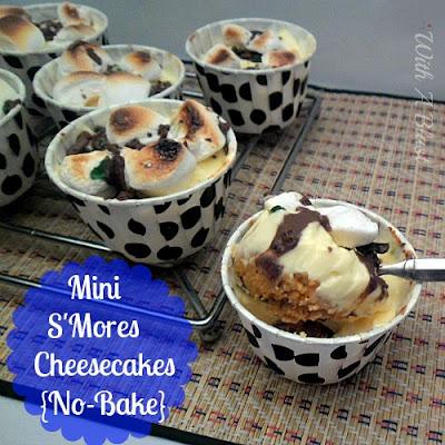 MINI S'Mores Cheesecakes {No-Bake}    #sweettreats #cheesecake #smores #nobake via:withablast.blogspot.com