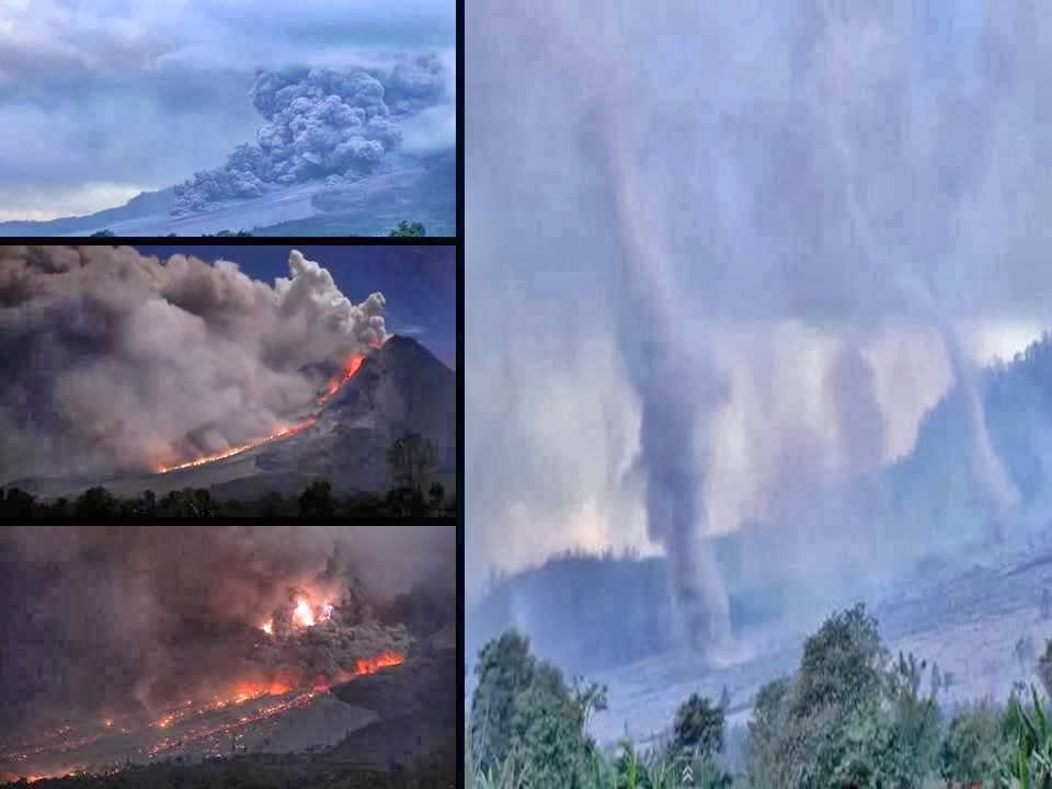 Spectacular Pyroclastic Flow followed by series of Tornados, Sinabung Volcano