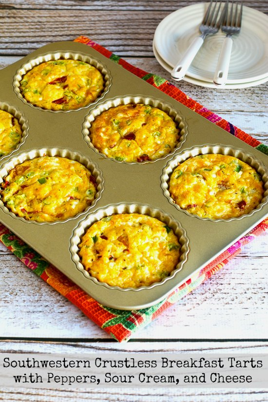Southwestern Crustless Breakfast Tarts with Peppers, Sour Cream, and Cheese found on KalynsKitchen.com