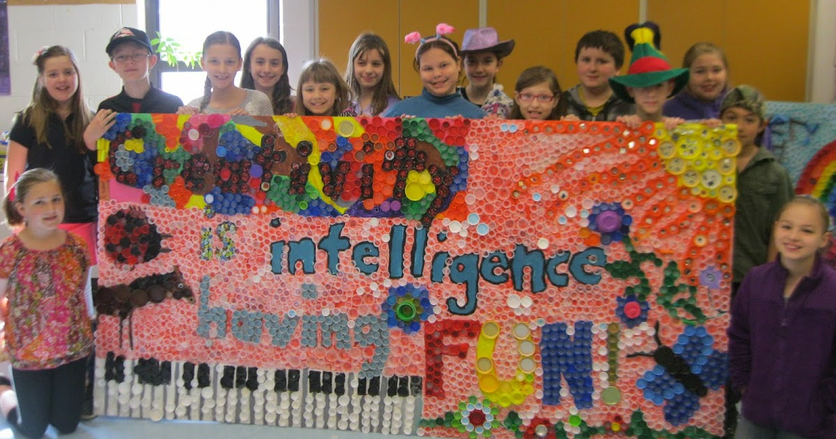 Mr button 39 s blog bottle cap murals by 5th grade art club for Bottle cap mural