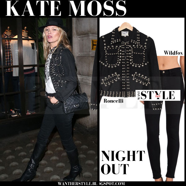 Kate Moss in black studded jacket and black skinny wildfox scarlett jeans what she wore