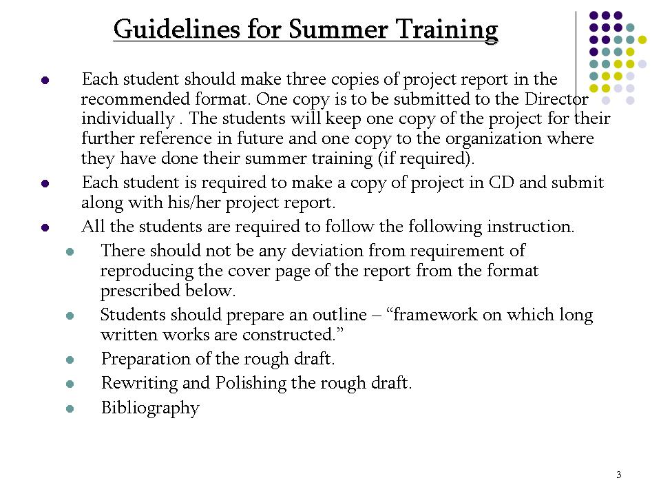 How To Prepare Summer Training Report
