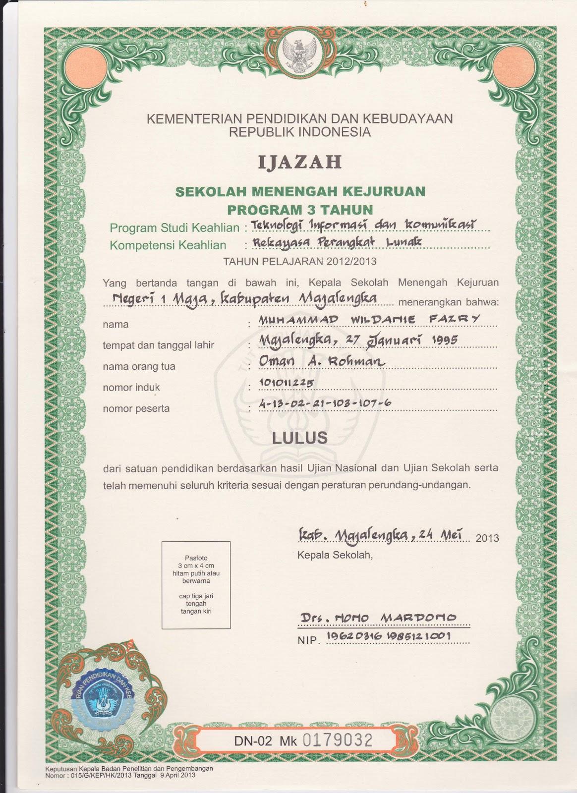 Contoh Penulisan Ijazah SD,SMP/MTs/SMA/SMK/MA 2013 dan Tip/Trik ...