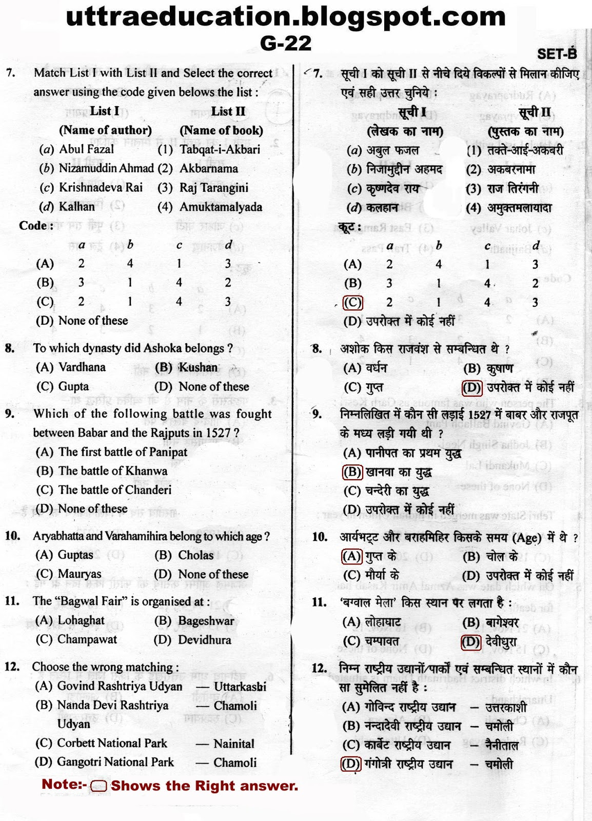 uttaraeducation g answer key question paper of samuh g though great care has been taken in publishing this post yet if you any answer is wrong please give your comment in comment box we will be glad to hear