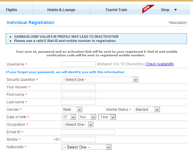 IRCTC new registration form