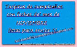 Noviembre. Tarjetas de cumpleaños con fechas