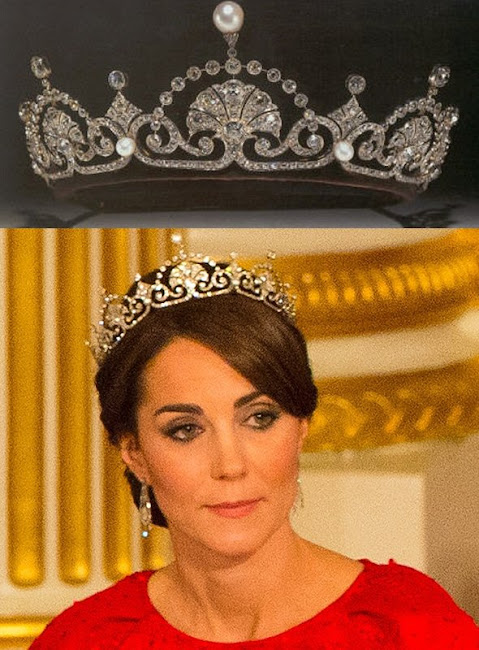 The Duchess wore the Lotus Flower tiara, also called the Papyrus tiara.