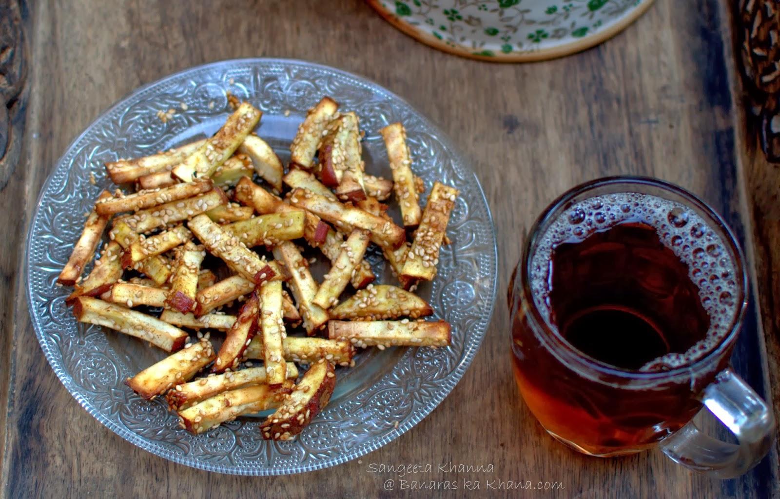 honey chilly sweet potato finger chips : baked finger chips