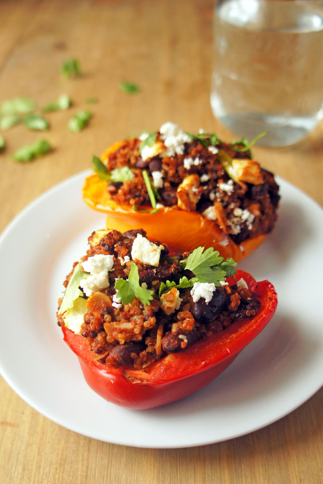 Sweet and spicy stuffed peppers with warm Moroccan spices. They're gluten-free, vegetarian and can be made vegan | The Road to Less Cake