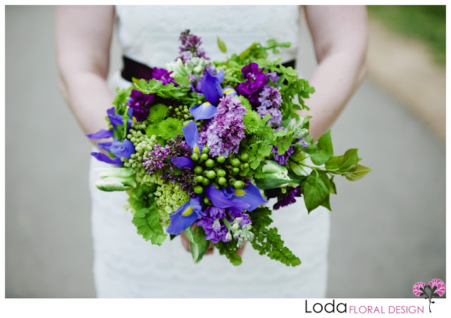 Iris, lilac, maidenhair fern, mini hydrangea,