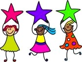 A diverse team of children holding stars.