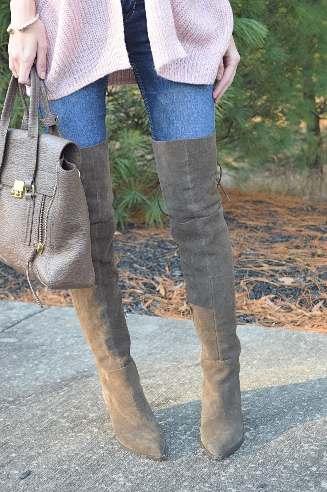Wearing Aldo Haskova Over the Knee Boots, Target Mossimo Pink Cardigan